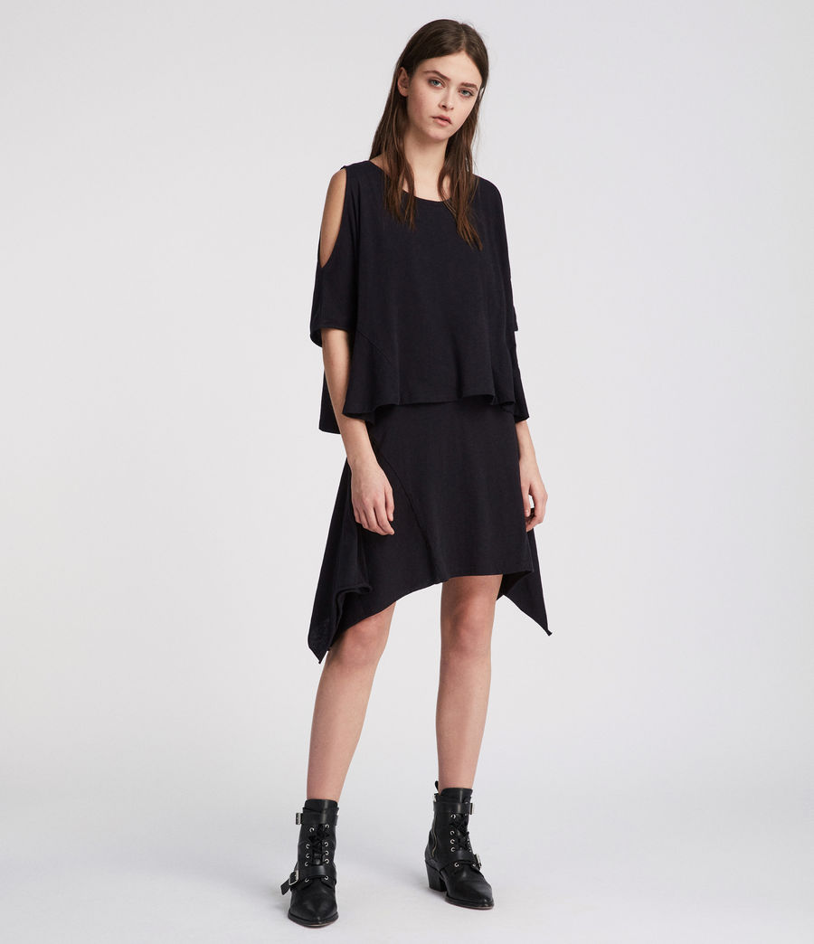 Women's Ella Fifi Tiered Dress (jet_black) - Image 1
