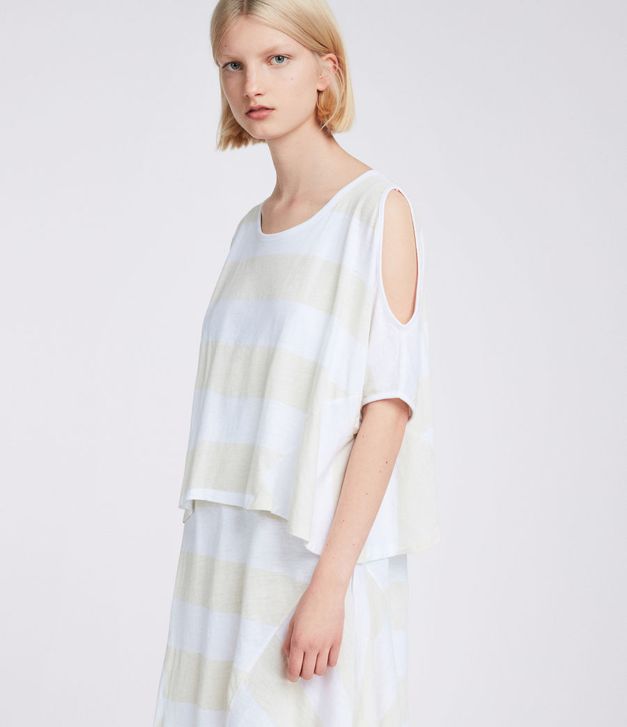 Women's Ella Stripe Tiered Dress (vintage_opticwhite) - Image 3