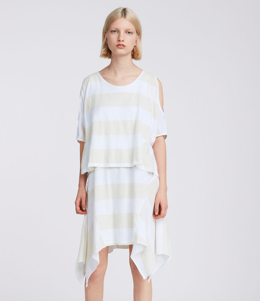 Donne Abito Ella Stripe Tiered (vintage_opticwhite) - Image 5