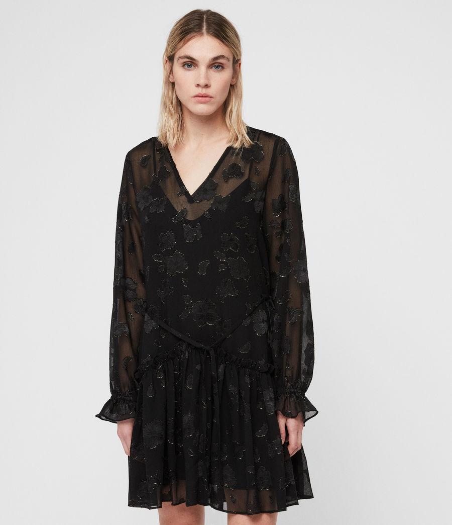 Women's Alia Flora Dress (black_gold) - Image 1