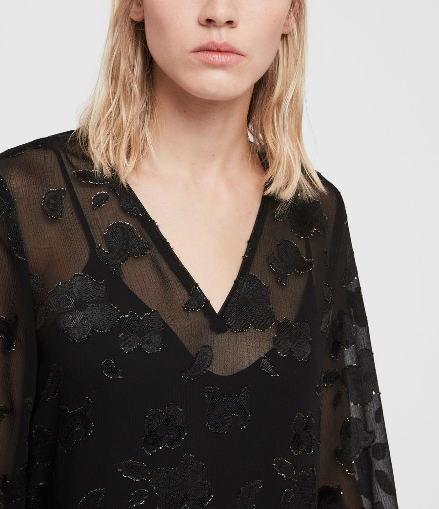 Women's Alia Flora Dress (black_gold) - Image 2