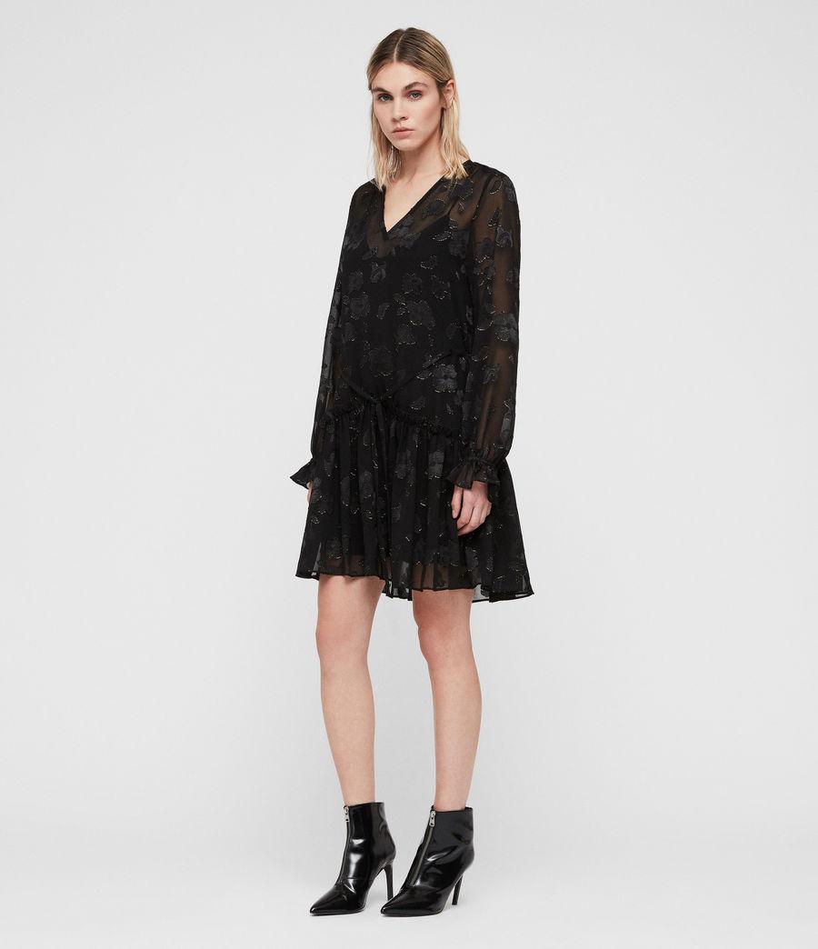 Women's Alia Flora Dress (black_gold) - Image 4