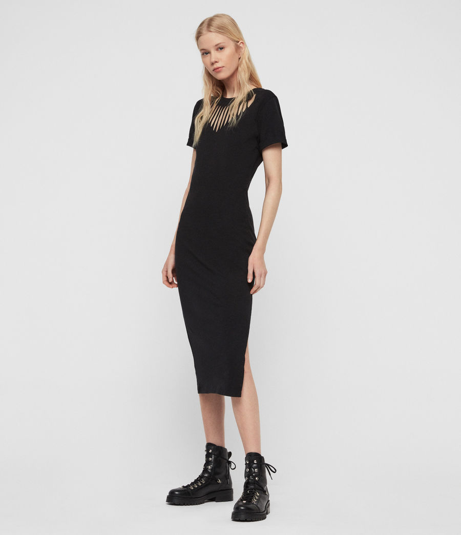 Women's Dina Slash Dress (black) - Image 1