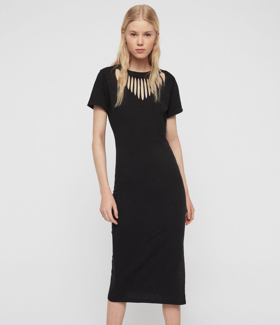 Women's Dina Slash Dress (black) - Image 2