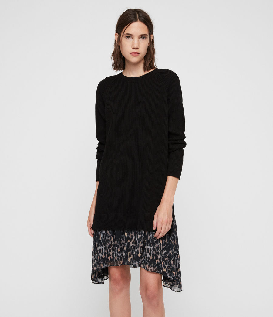Women's Leopard Jumper Dress (black) - Image 1
