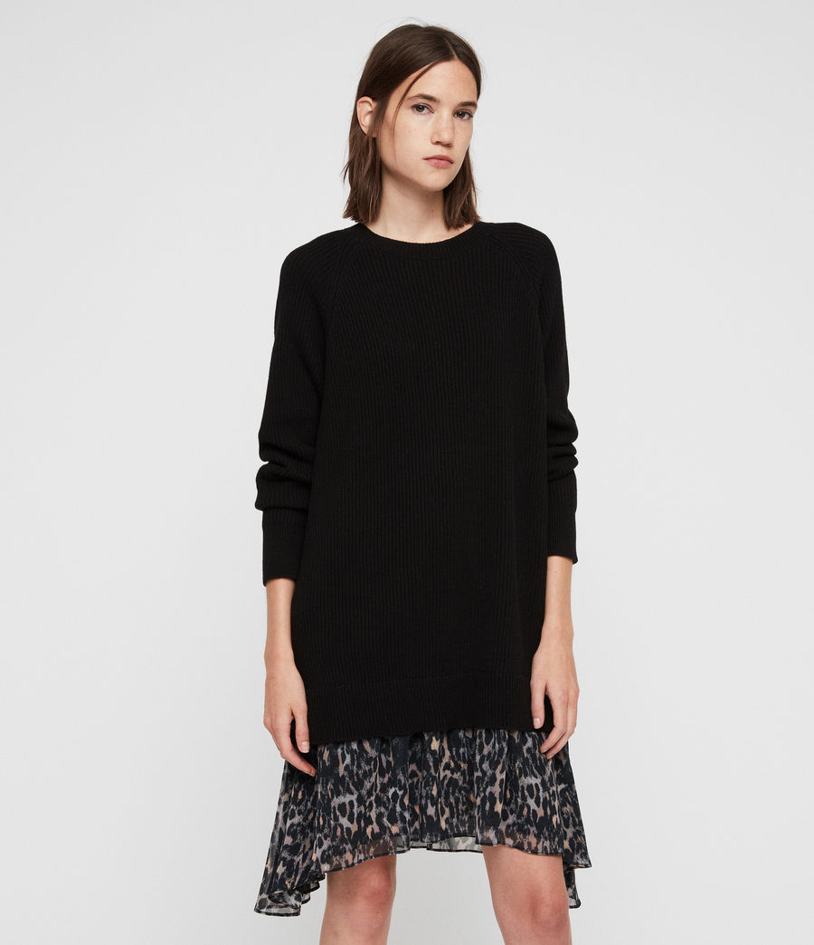 Women's Leopard Jumper Dress (black) - Image 3