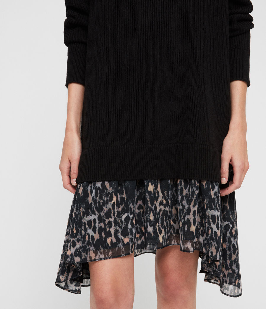 Women's Leopard Jumper Dress (black) - Image 4