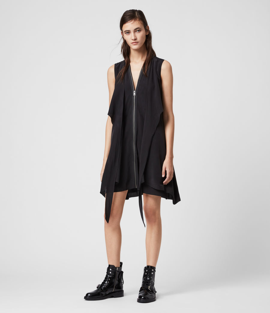 Women's Jayda Silk Dress (black) - Image 3