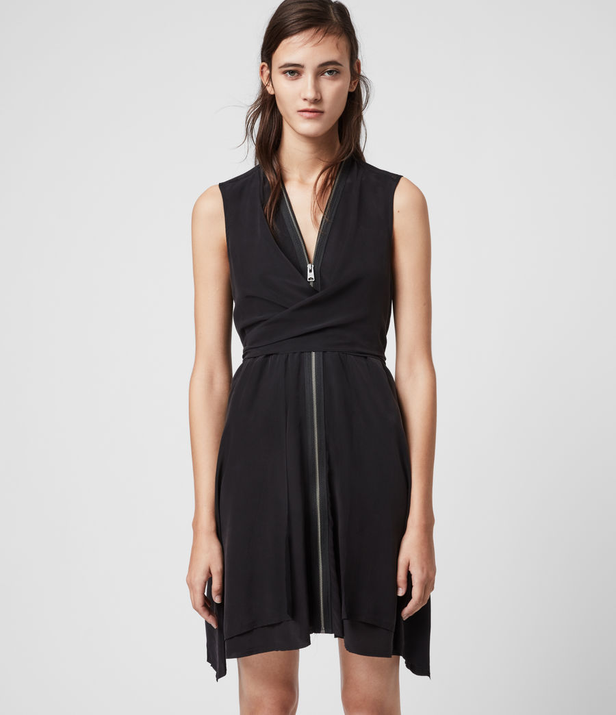 Womens Jayda Silk Dress (black) - Image 4