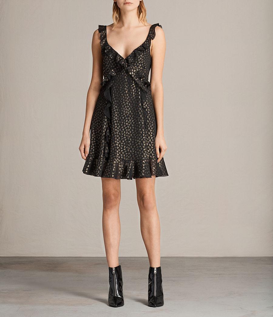Women's Darell Ruffle Dress (black_gold) - Image 1