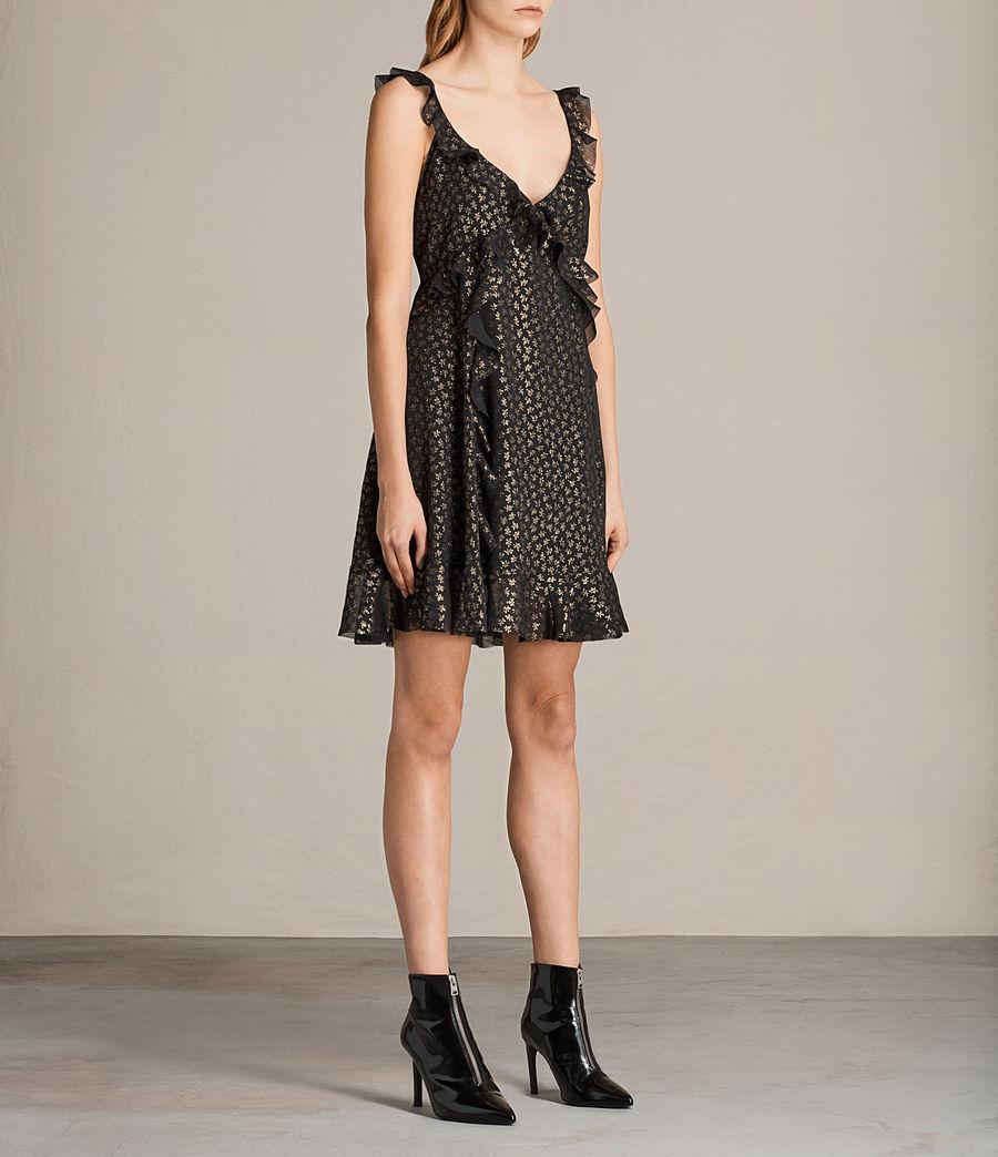 Women's Darell Ruffle Dress (black_gold) - Image 3