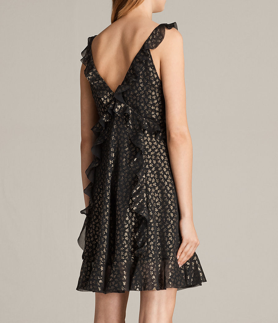 Women's Darell Ruffle Dress (black_gold) - Image 6