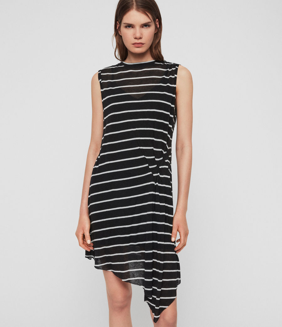 Womens Duma Stripe Dress (black_chalk_white) - Image 1