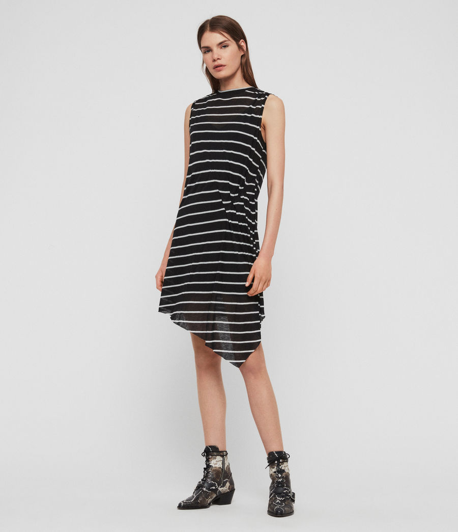 Womens Duma Stripe Dress (black_chalk_white) - Image 2