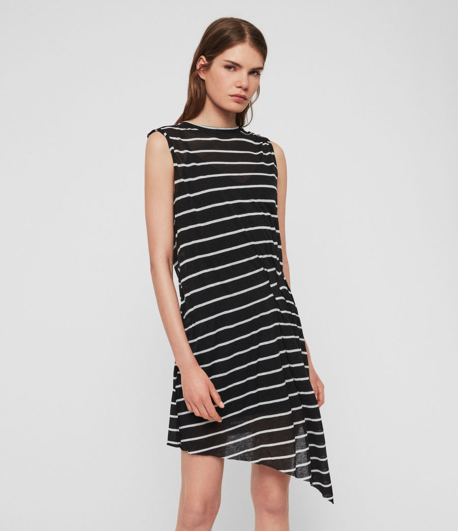 Womens Duma Stripe Dress (black_chalk_white) - Image 3