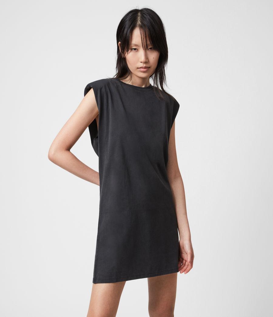 Womens Coni Organic Cotton Tank Dress (acid_washed_black) - Image 4