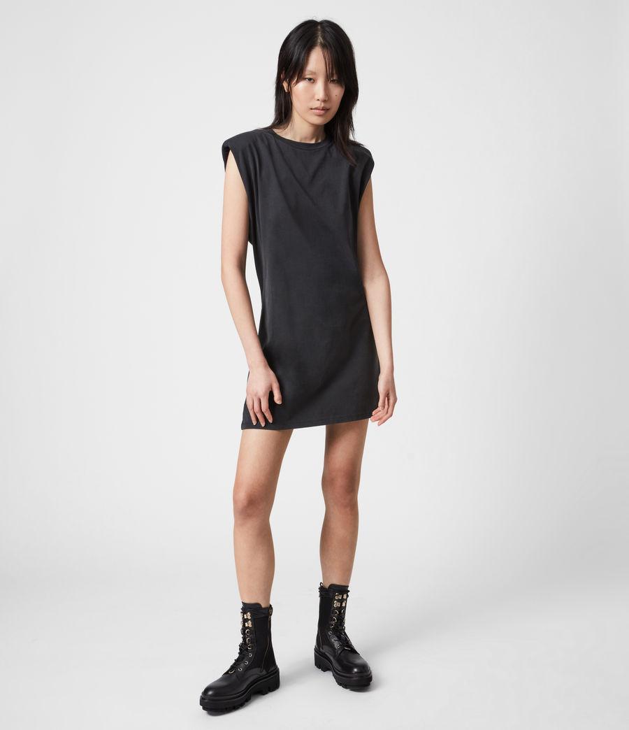 Womens Coni Organic Cotton Tank Dress (acid_washed_black) - Image 7