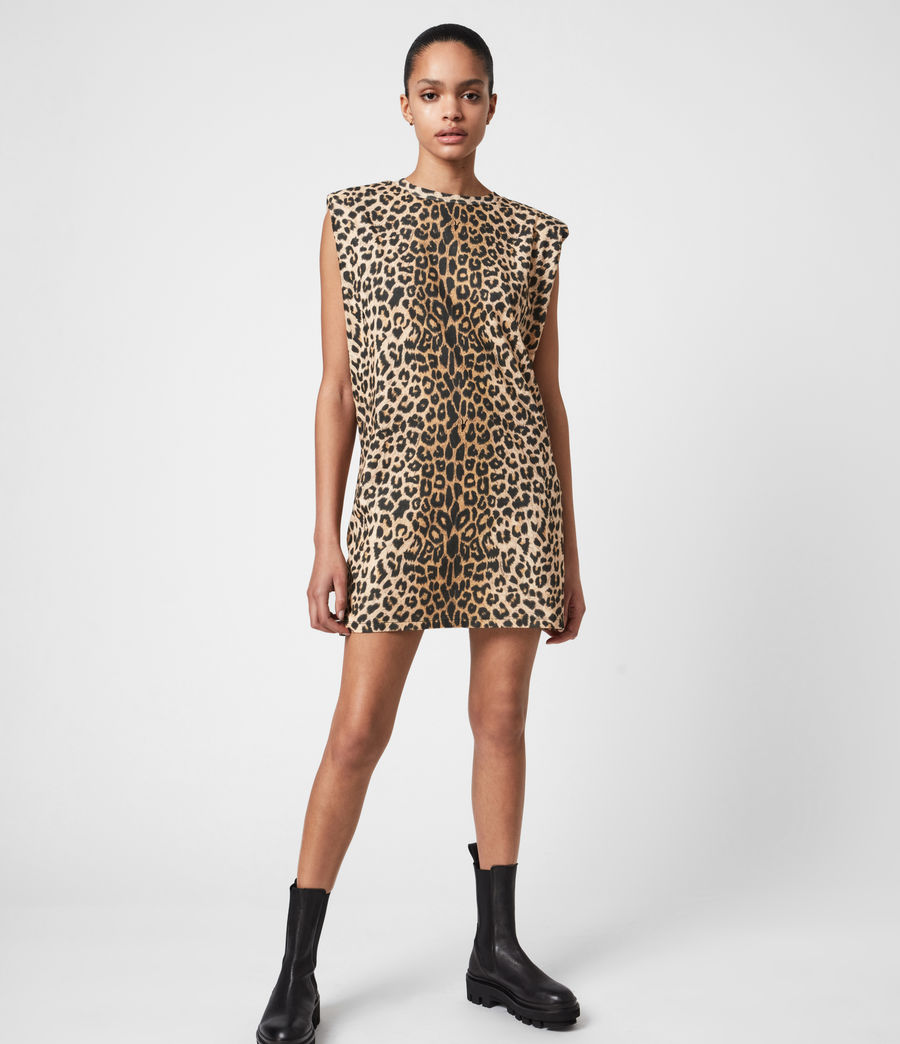 Femmes Robe en Coton Bio Coni (leopard_yellow) - Image 7