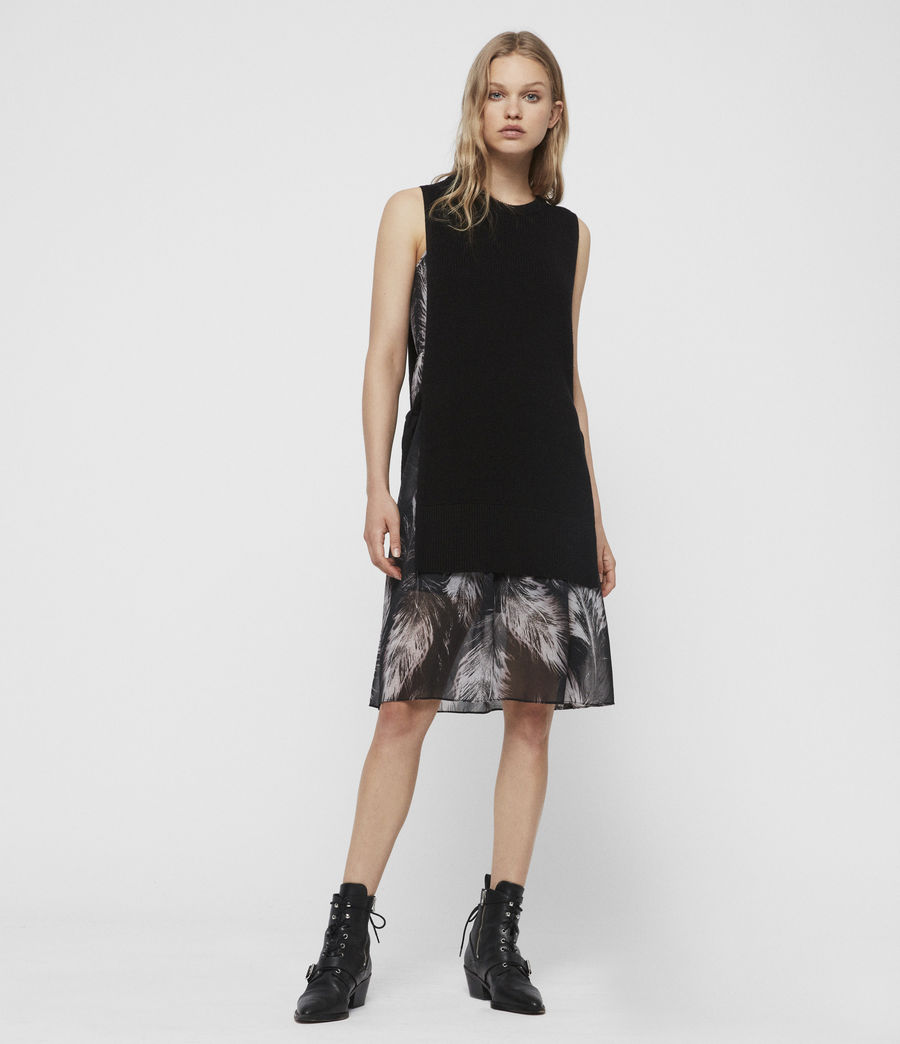 Damen Dillon Feather Kleid (black) - Image 1