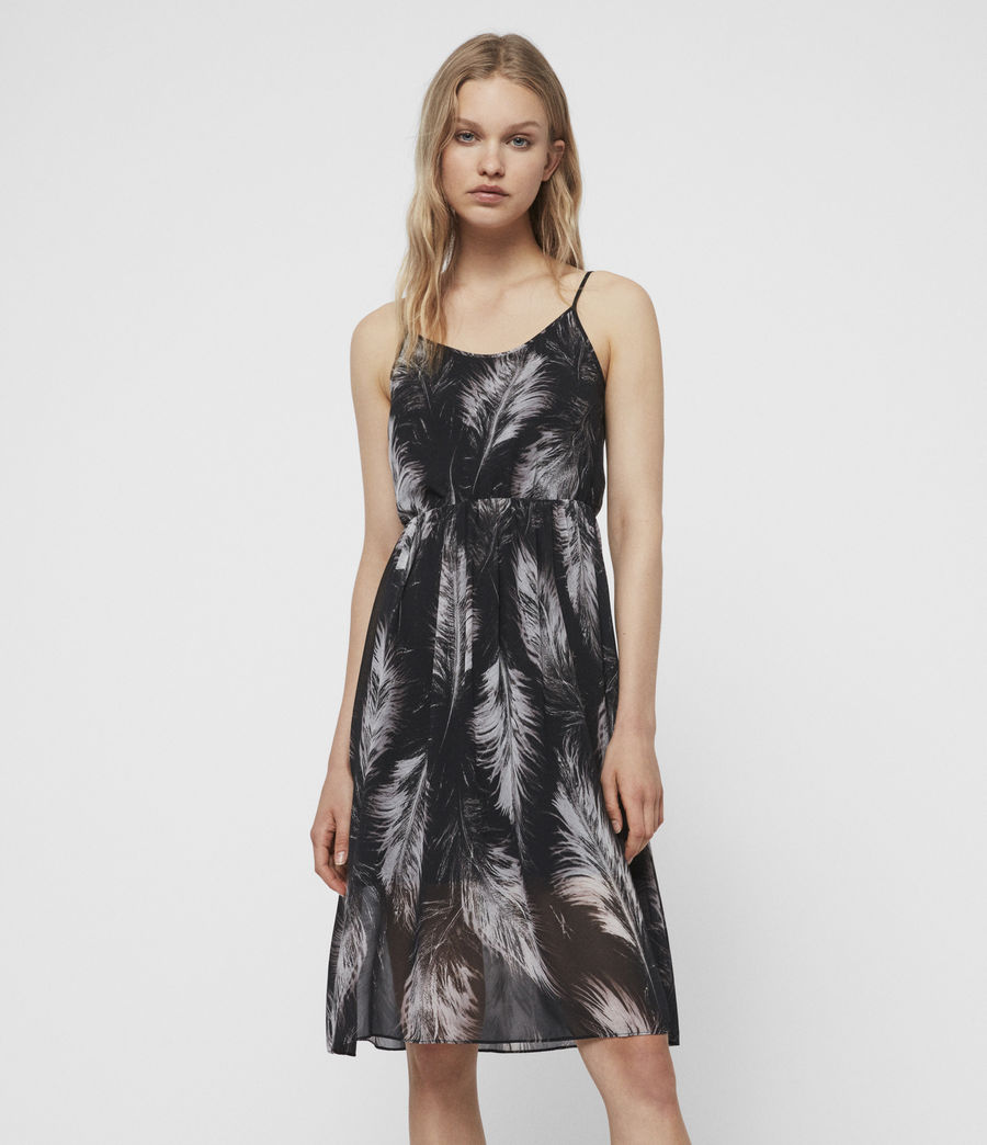 Women's Dillon Feather Dress (black) - Image 3