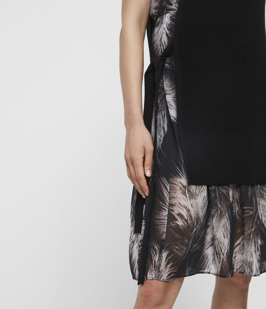 Women's Dillon Feather Dress (black) - Image 4