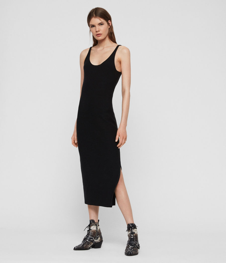 Womens Blyth Long Dress (black) - Image 2