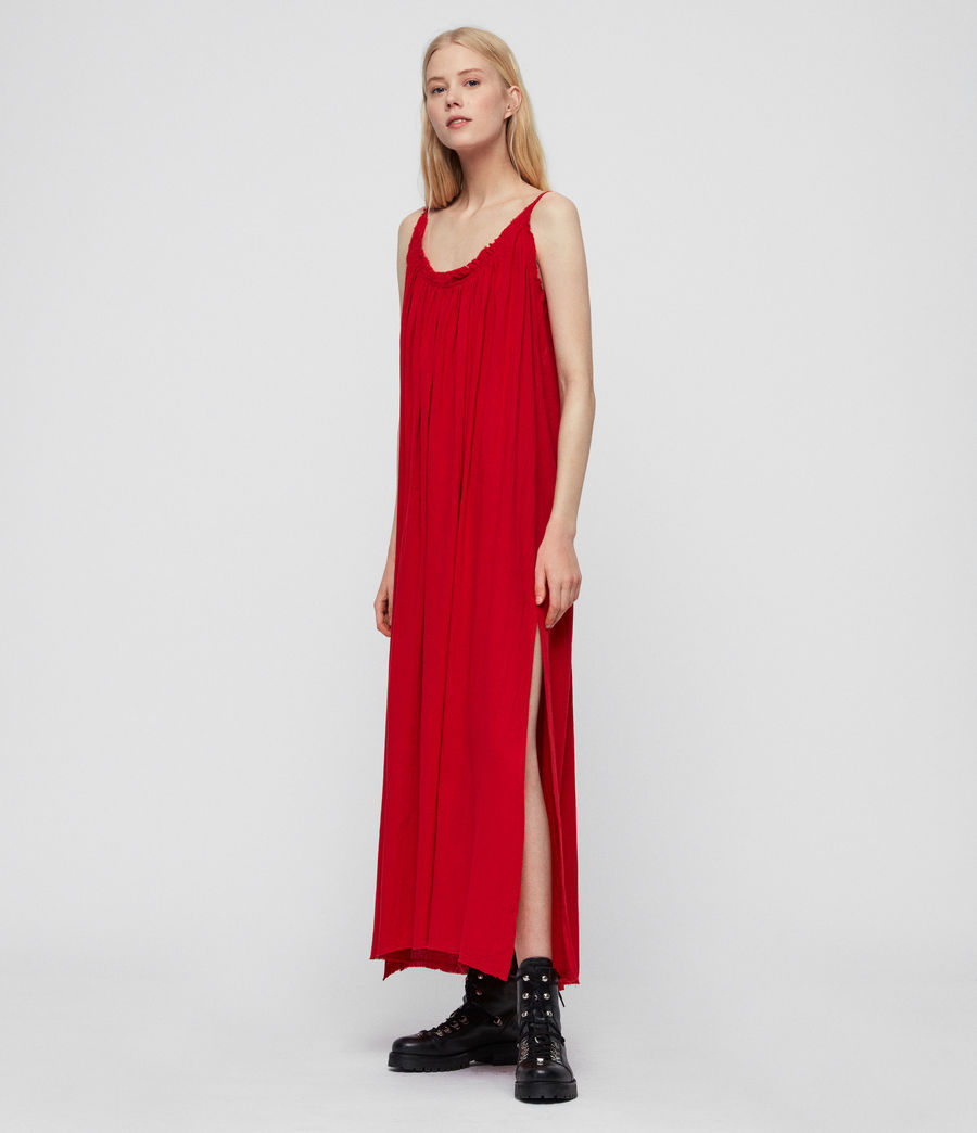 Womens Romey Long Dress (red) - Image 3