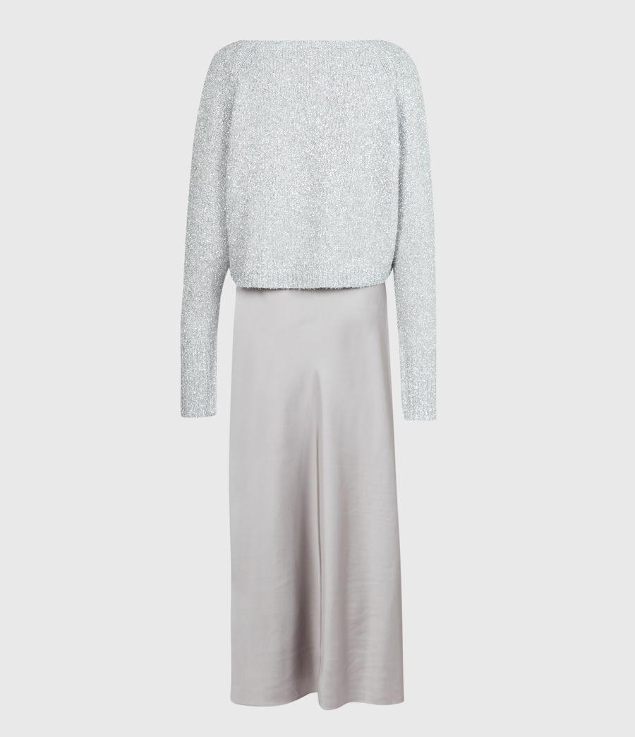 Womens Rosetta Tinsel 2-In-1 Dress (silver_pearl_grey) - Image 5