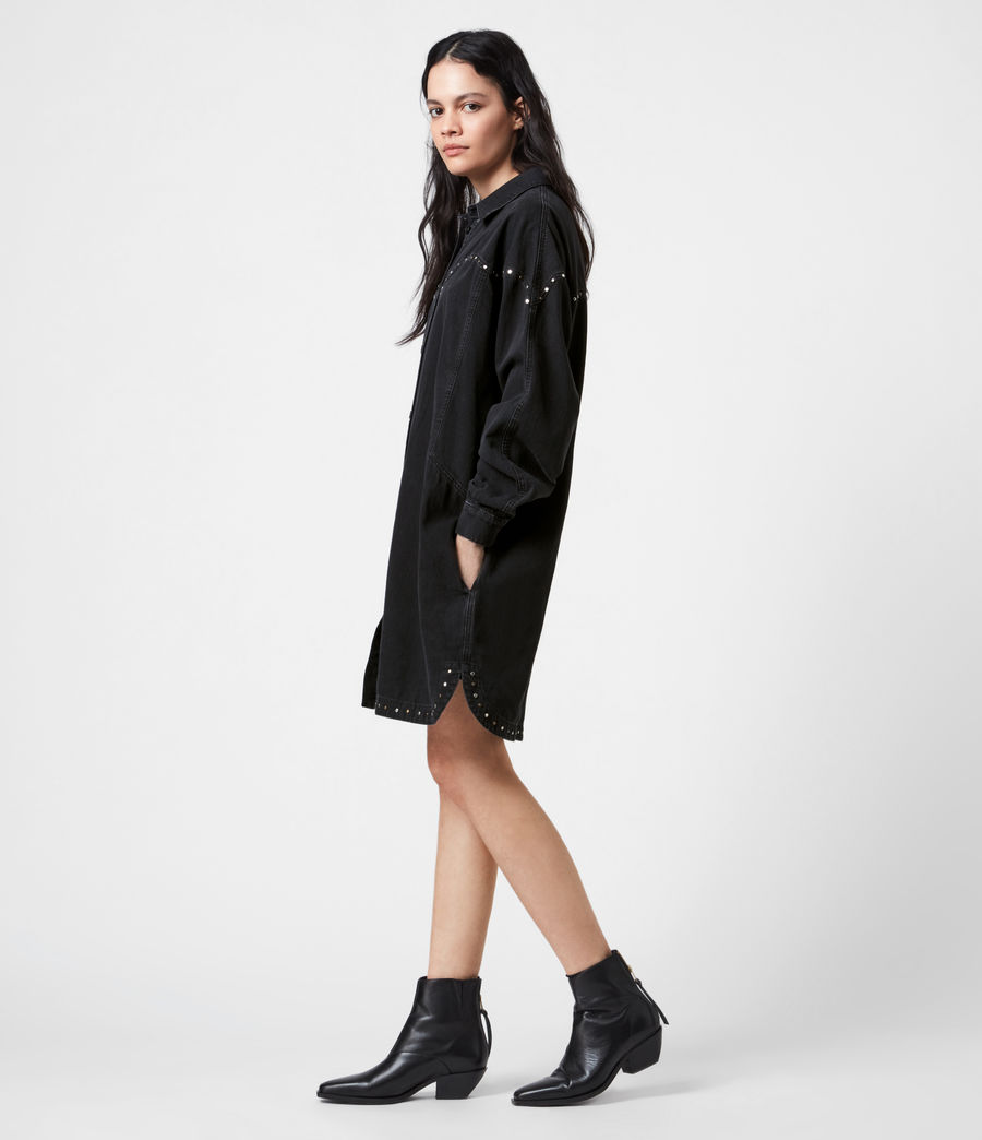 Women's Izzy Studded Denim Dress (black) - Image 1
