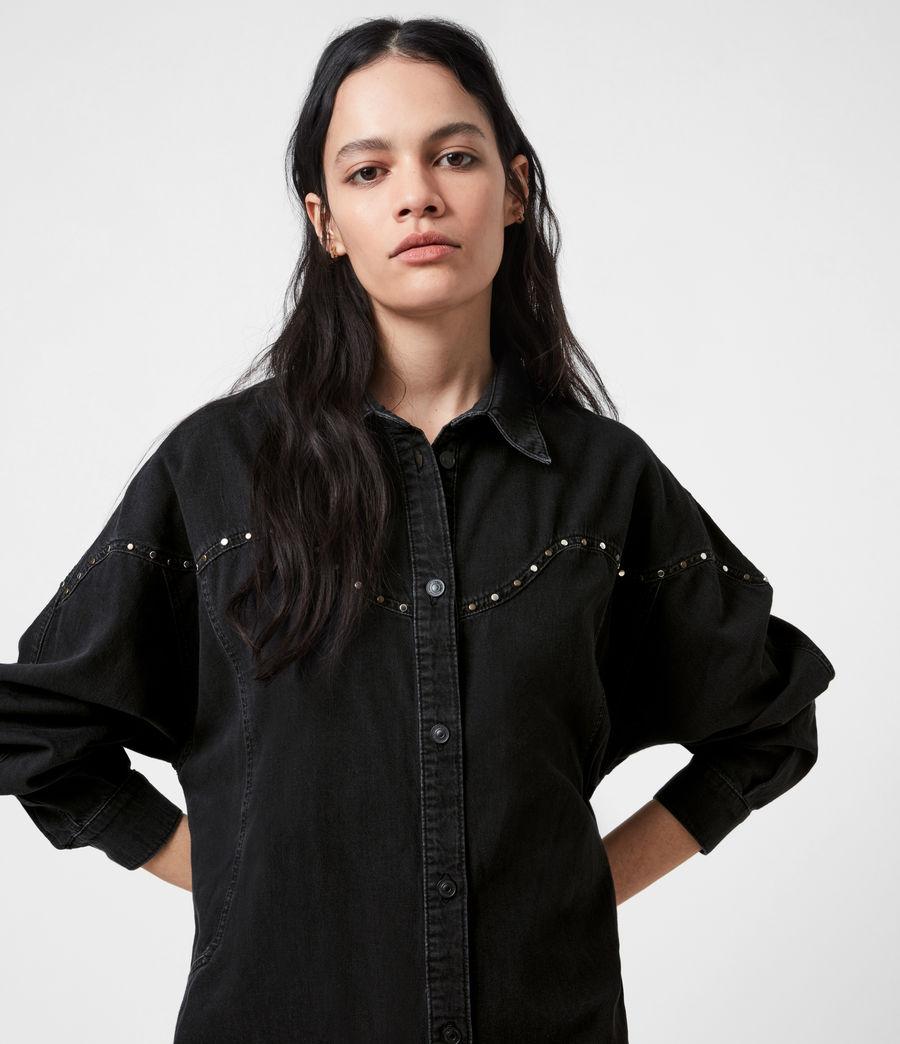 Women's Izzy Studded Denim Dress (black) - Image 4