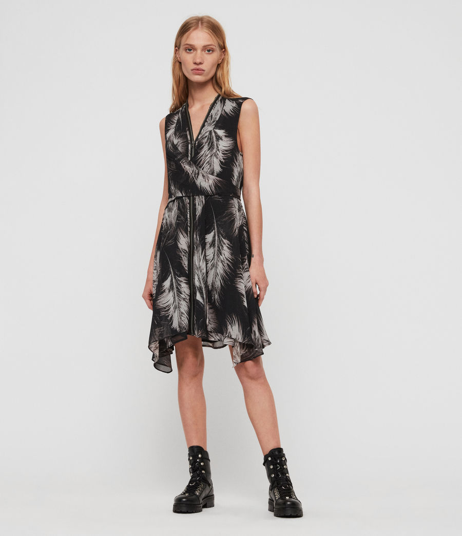 Damen Jayda Feathers Kleid (black) - Image 1