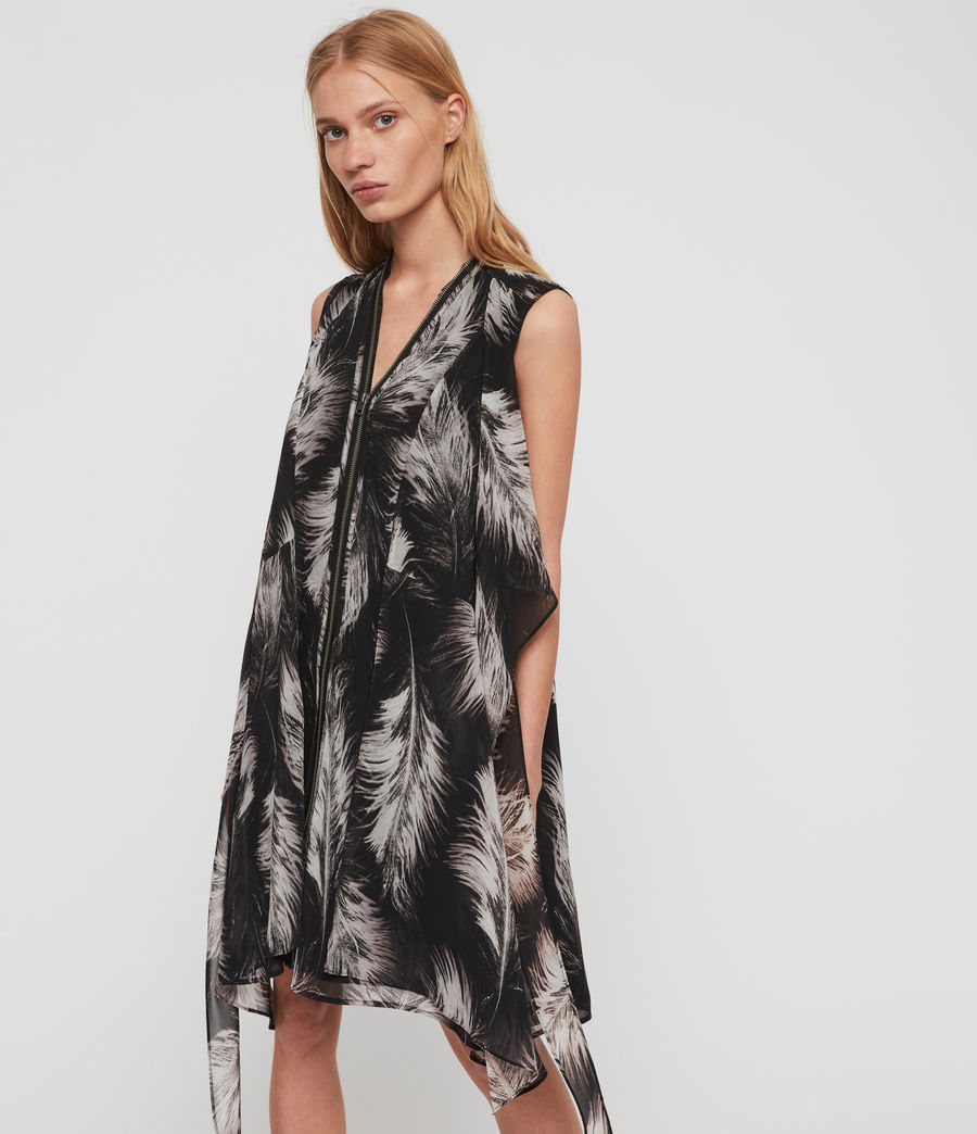 Womens Jayda Feathers Dress (black) - Image 2