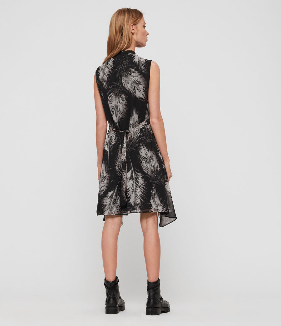 Womens Jayda Feathers Dress (black) - Image 4