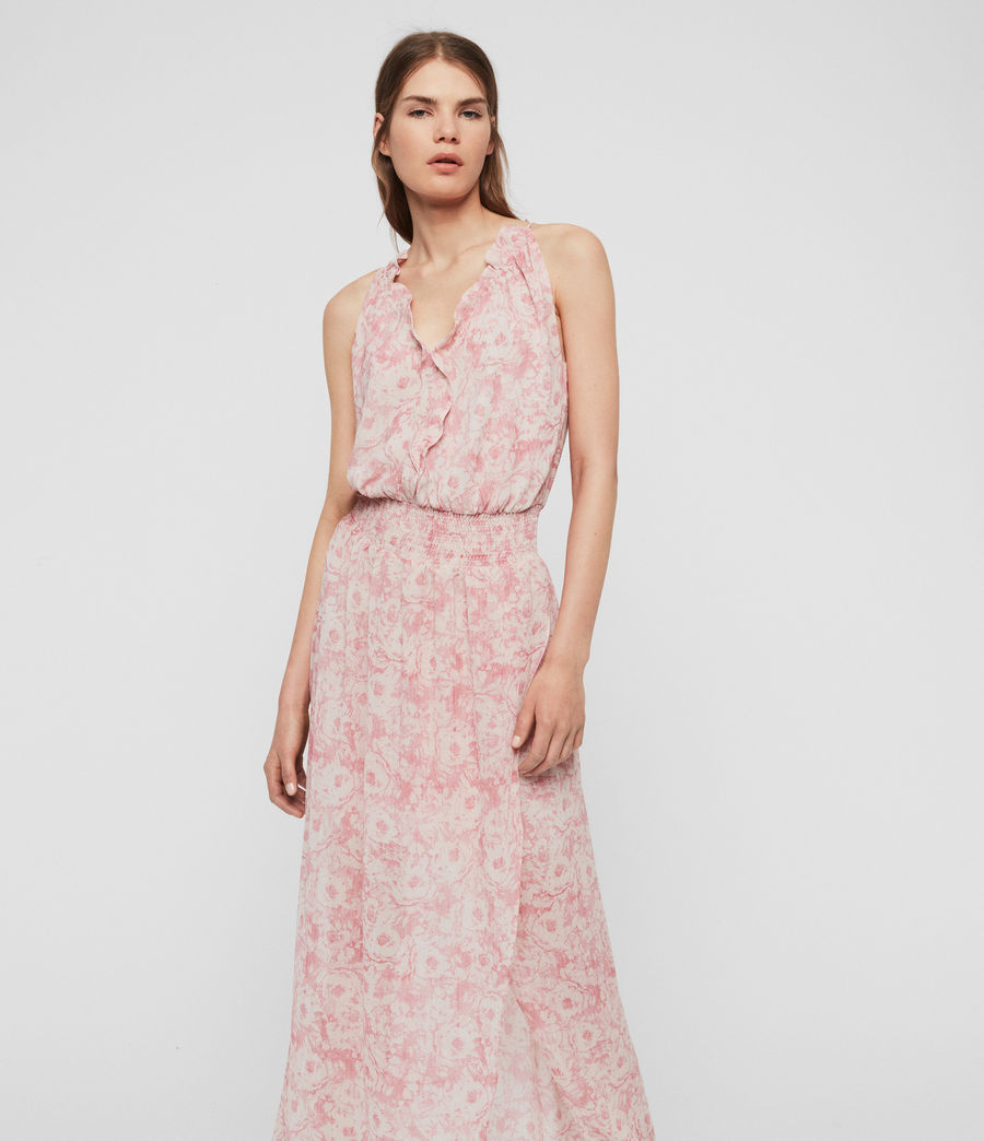Donne Abito Nylah Rosa - Lungo floreale con ruche (pink) - Image 3