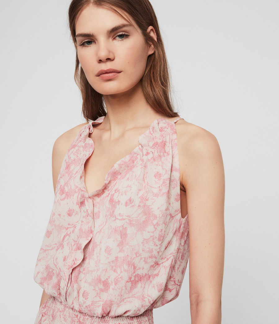 Donne Abito Nylah Rosa - Lungo floreale con ruche (pink) - Image 4