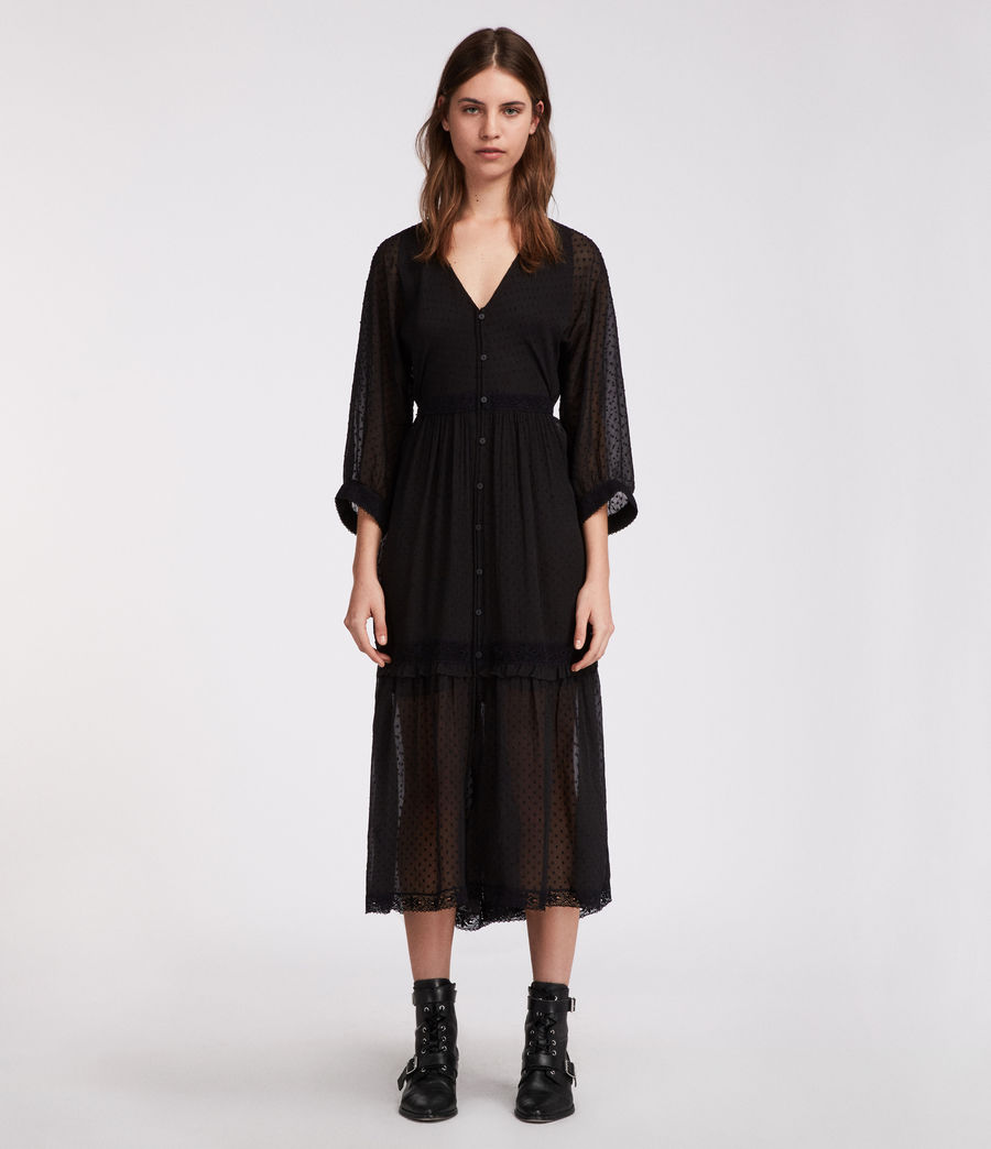 Women's Palma Polka Dress (black) - Image 1