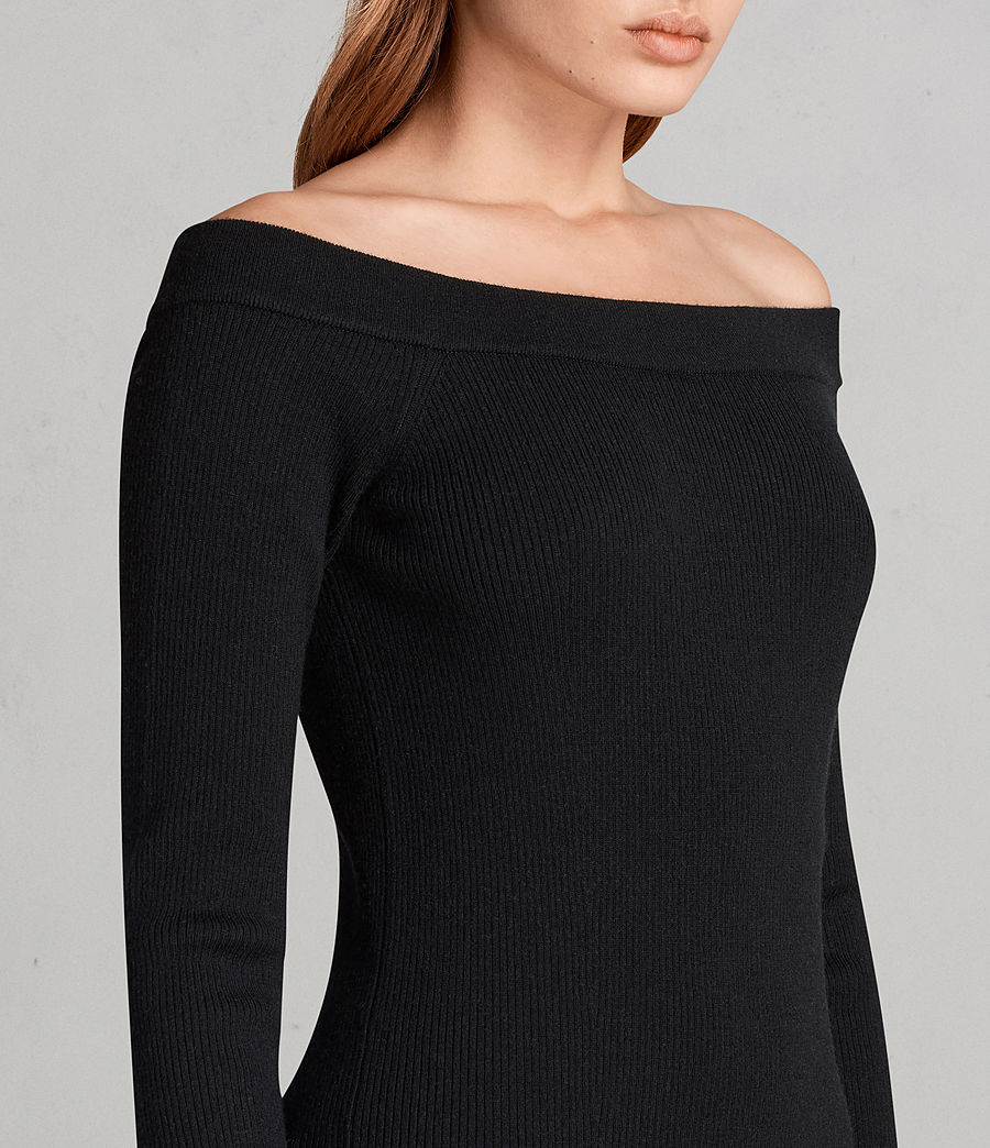 Women's Lavine Long Sleeve Dress (Black) - Image 4