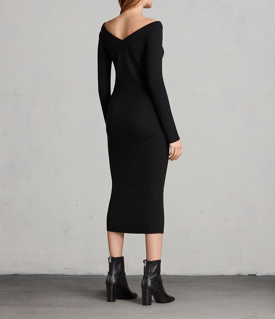 Women's Lavine Long Sleeve Dress (Black) - Image 6