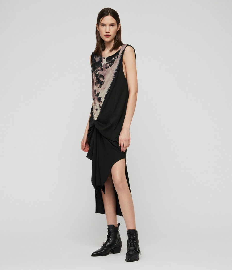 Womens Riviera Flora Dress (black) - Image 5