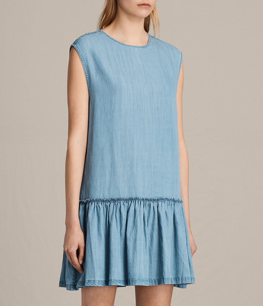 Women's Polly Ruffle Dress (mid_indigo_blue) - Image 4
