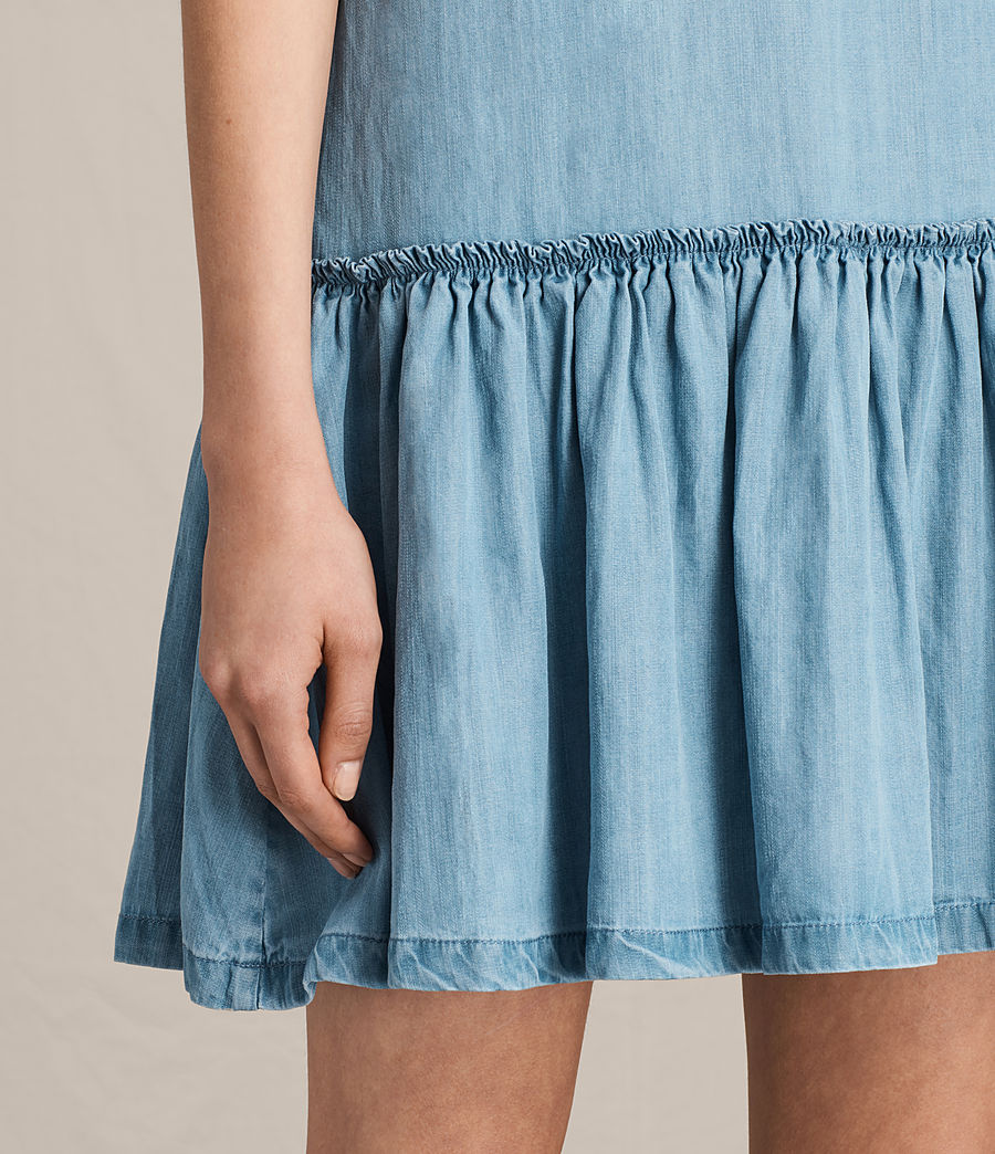 Women's Polly Ruffle Dress (mid_indigo_blue) - Image 5