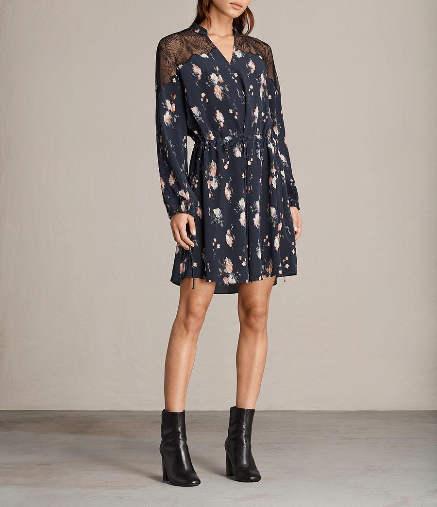 Womens Laya Meadow Silk Dress (mystic_blue) - Image 1
