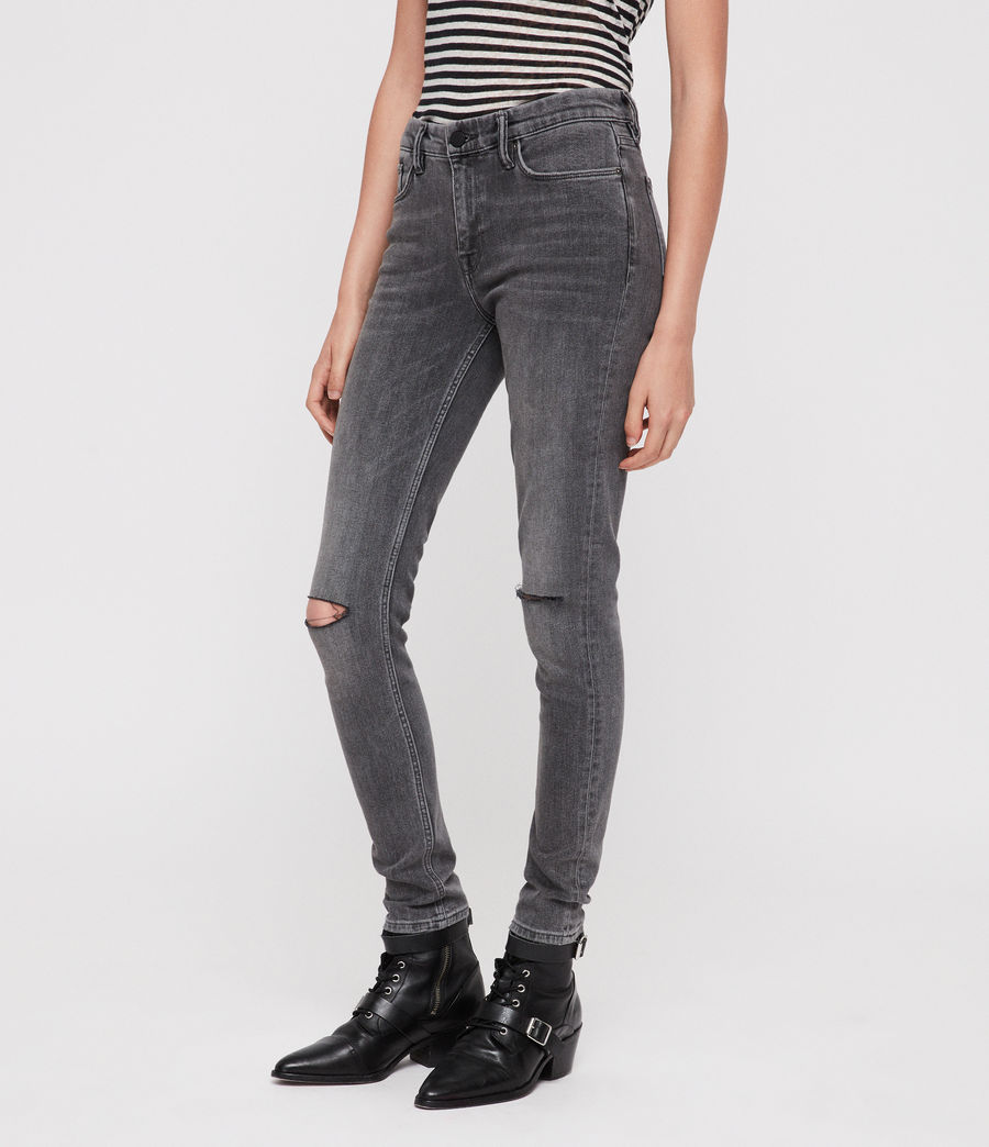 Damen Grace Slashed Jeans (washed_black) - Image 1