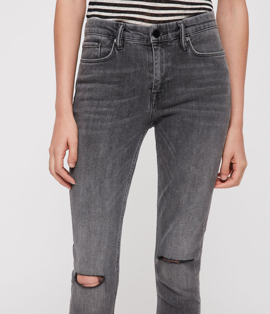 Damen Grace Slashed Jeans (washed_black) - Image 2