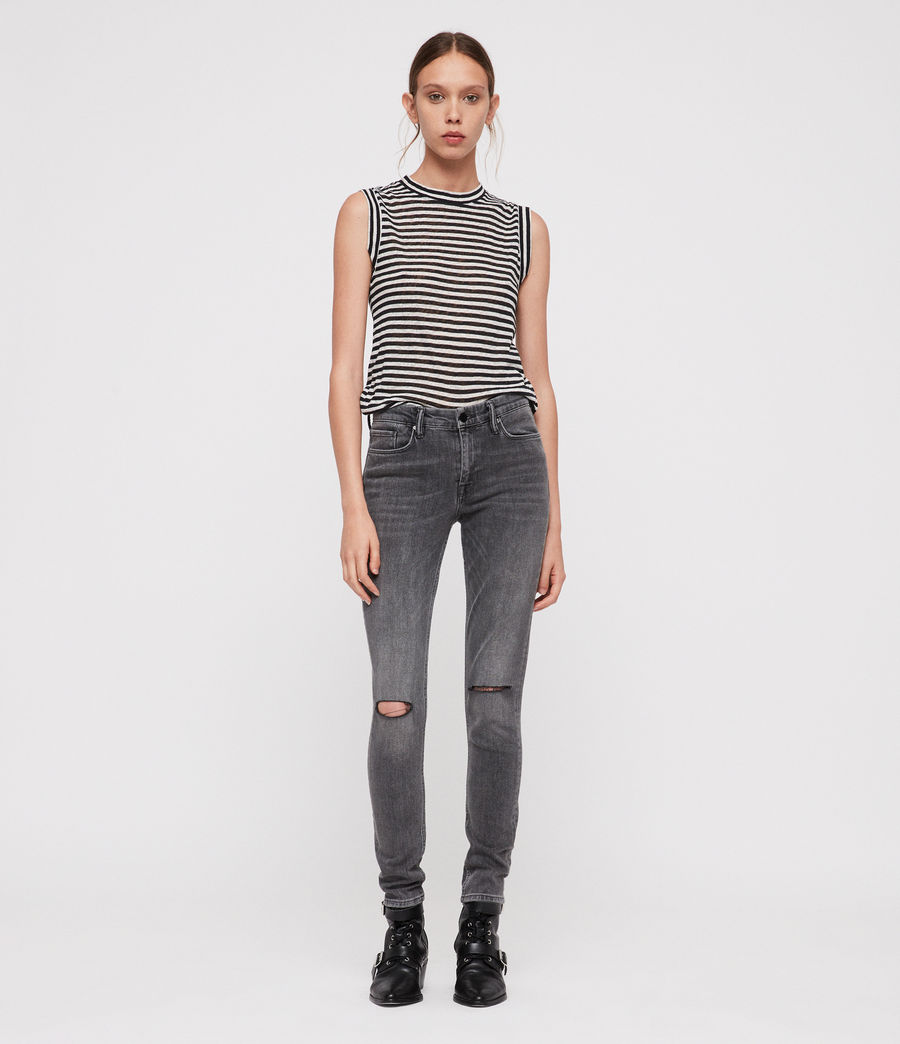 Damen Grace Slashed Jeans (washed_black) - Image 3