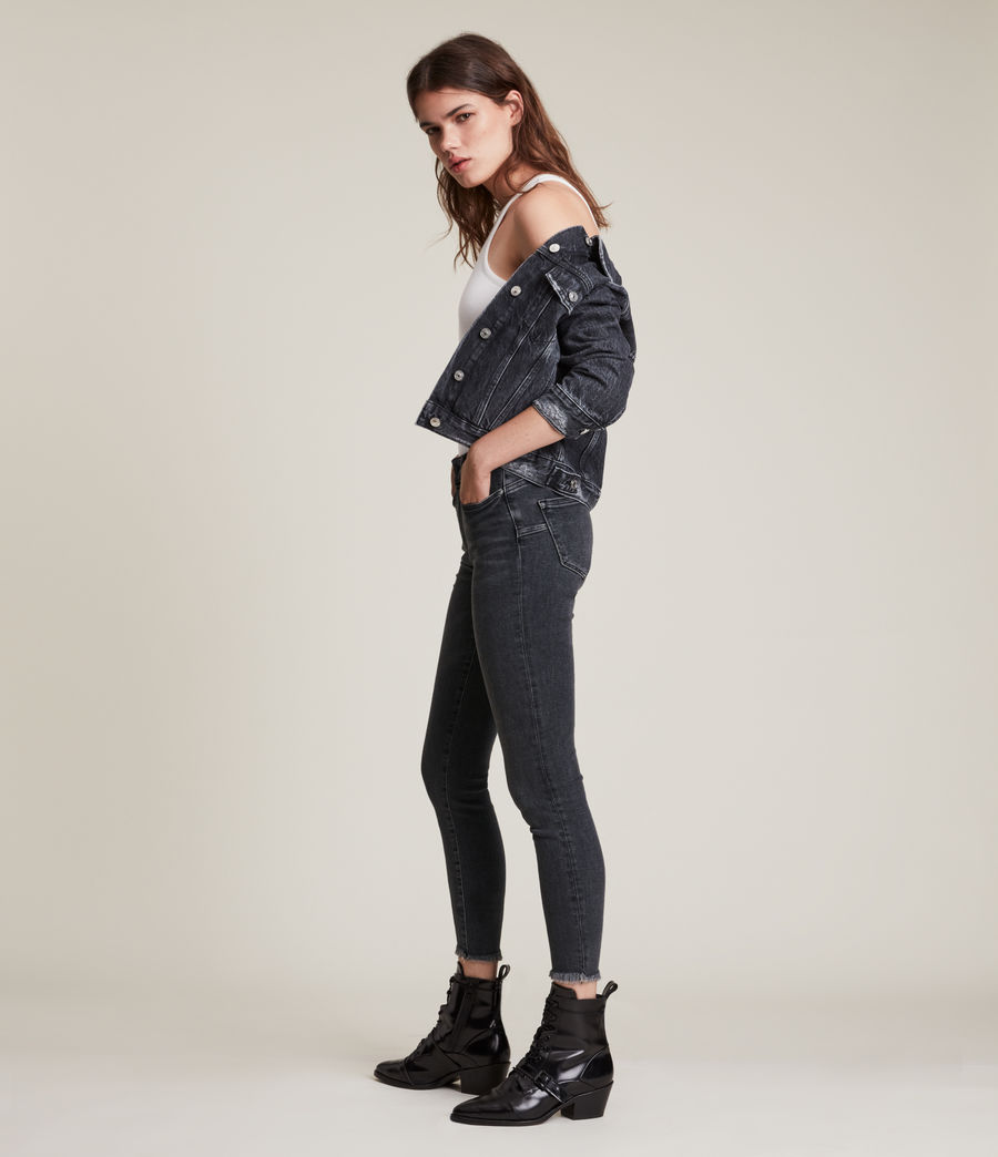 Women's Miller Mid Rise Stretch Push Up Skinny Jeans, Washed Black (washed_black) - Image 1
