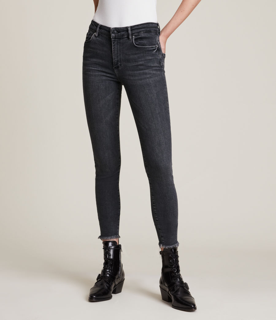 Women's Miller Mid Rise Stretch Push Up Skinny Jeans, Washed Black (washed_black) - Image 2