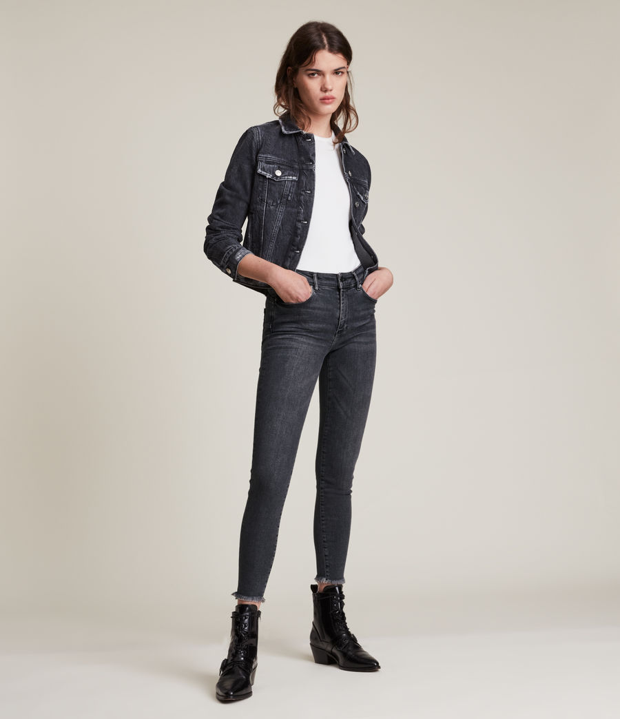 Women's Miller Mid Rise Stretch Push Up Skinny Jeans, Washed Black (washed_black) - Image 4