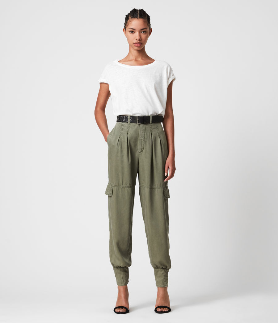 Womens Paxton High-Rise Pants (khaki_green) - Image 1