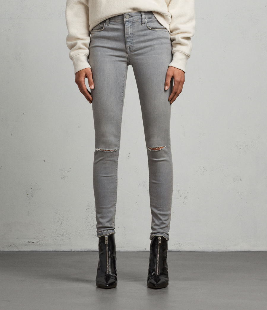 Women's Grace Slashed Skinny Jeans (grey) - Image 1